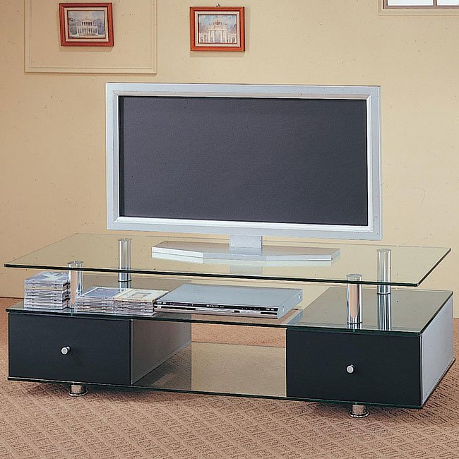 contemporary glass media console coaster furniture furniturepick. Black Bedroom Furniture Sets. Home Design Ideas