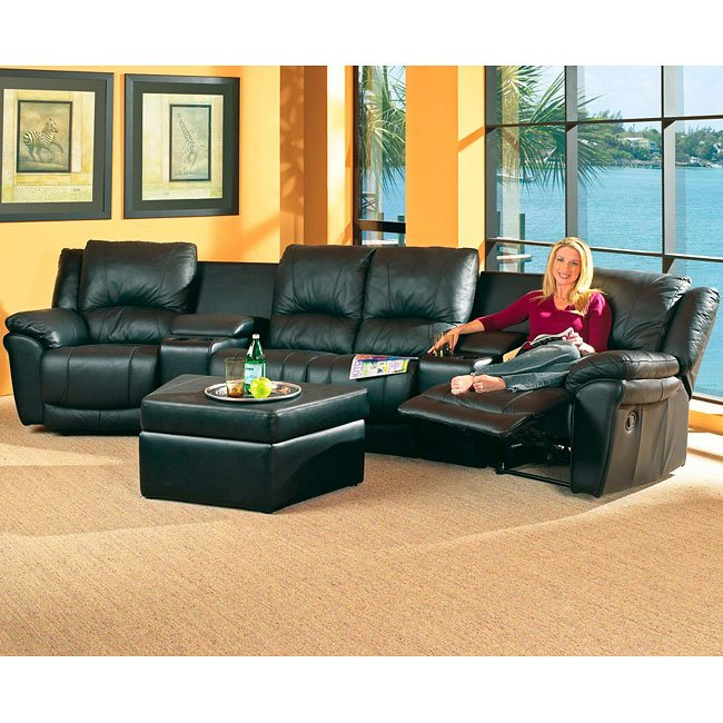 Living Room Theater Donation Request: Promenade Black Theatre Sectional Living Room Set By