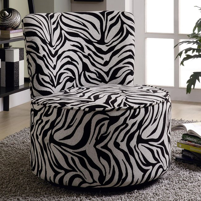 Round Swivel Accent Chair (Zebra)