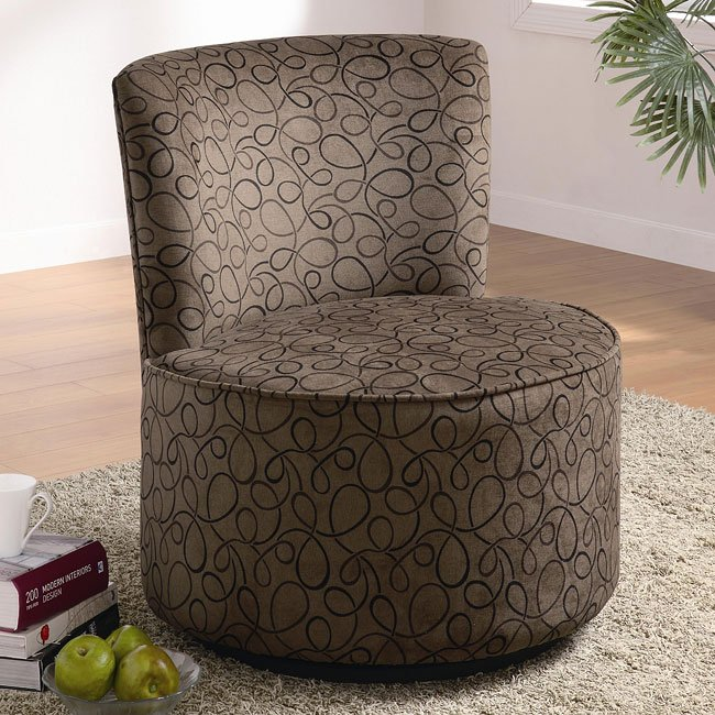 Superieur Round Swivel Accent Chair (Swirl)