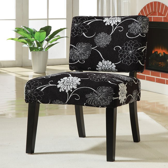 Accent Chair Black White Floral By Coaster Furniture