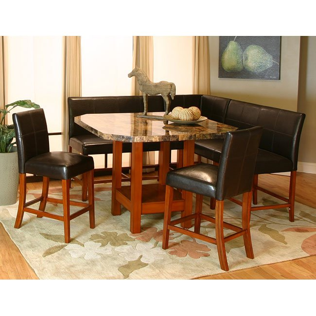 mayfair counter height corner dining nook set cramco furniturepick. Black Bedroom Furniture Sets. Home Design Ideas