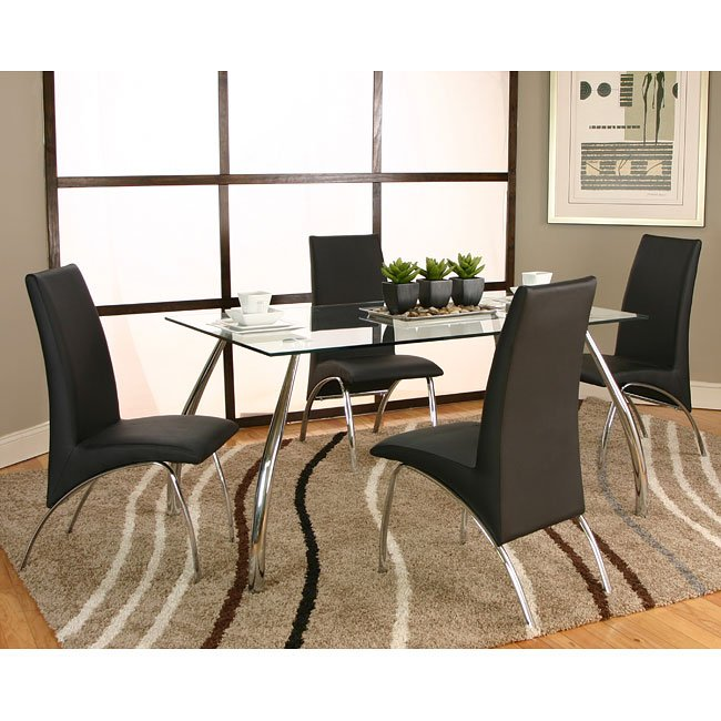 Chrome Dining Room Chairs: Mensa Chrome Dining Room Set W/ Black Chairs By Cramco