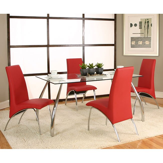 Red And Black Dining Room Sets: Mensa Chrome Dining Room Set W/ Red Chairs Cramco