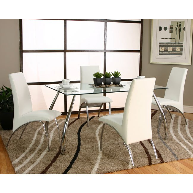 Chrome Dining Room Sets: Mensa Chrome Dining Room Set W/ White Chairs By Cramco, 1