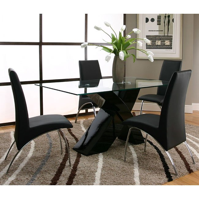 Black Formal Dining Room Set: Mensa Black Base Dining Room Set With Black Chairs By