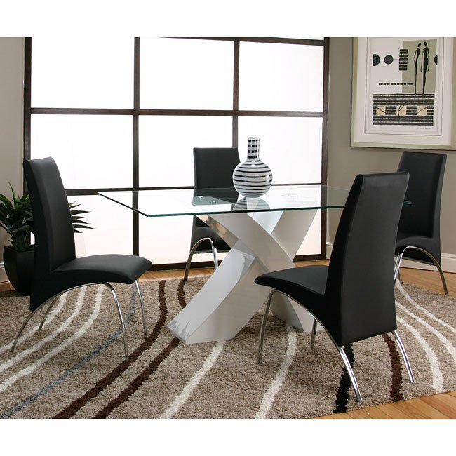 White And Black Dining Room Sets: Mensa White Base Dining Room Set With Black Chairs By