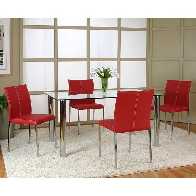 Napoli Dining Room Set W/ Corona Red Chairs By Cramco