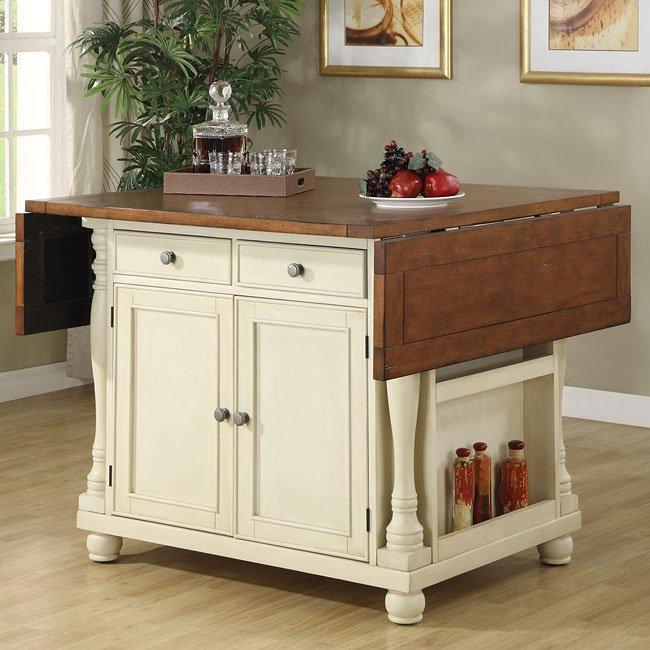 Buttermilk And Cherry Kitchen Island Coaster Furniture