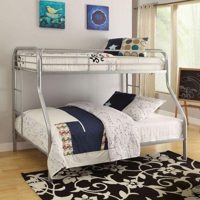 Tritan Twin XL over Queen Bunk Bed (Silver)