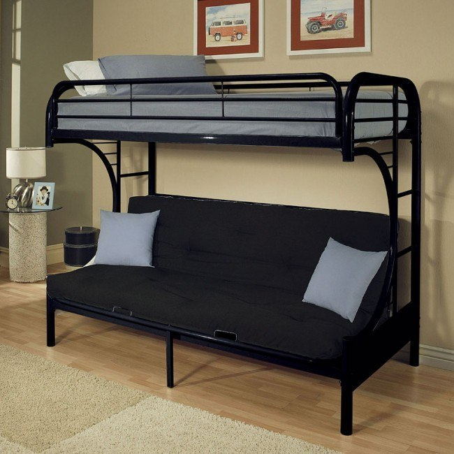Eclipse Twin over Full Futon Bunk Bed (Black)