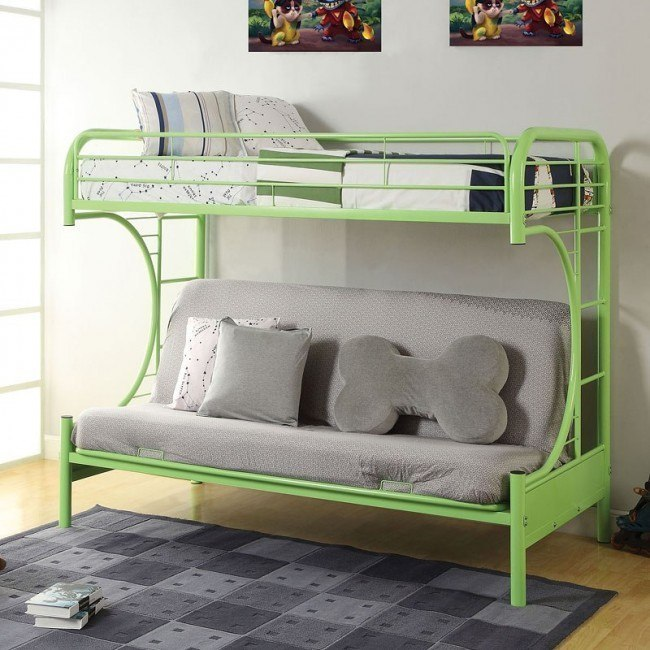 Eclipse Twin over Full Futon Bunk Bed (Green)
