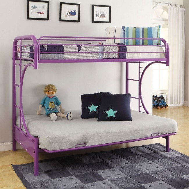 Eclipse Twin over Full Futon Bunk Bed (Purple)