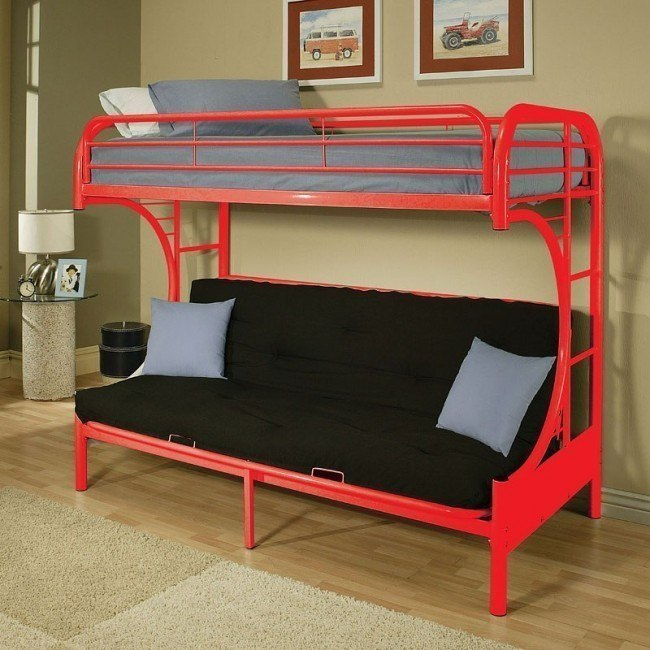 Eclipse Twin over Full Futon Bunk Bed (Red)