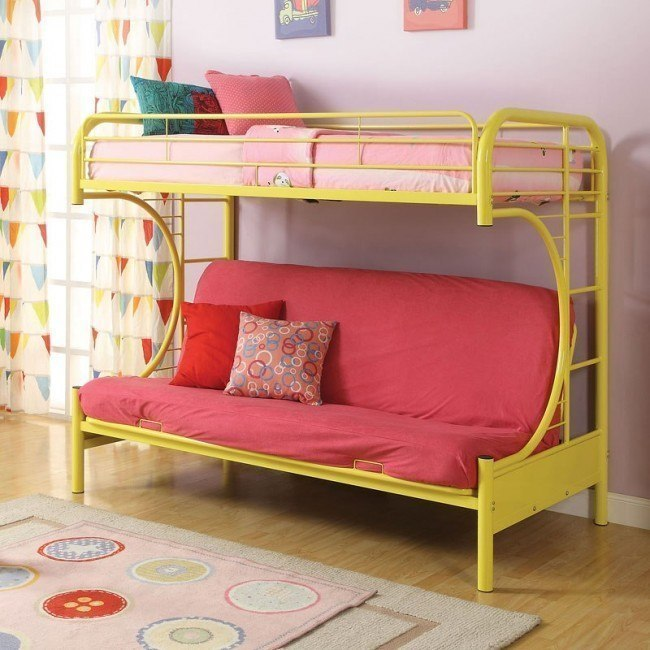 Eclipse Twin Over Full Futon Bunk Bed Yellow