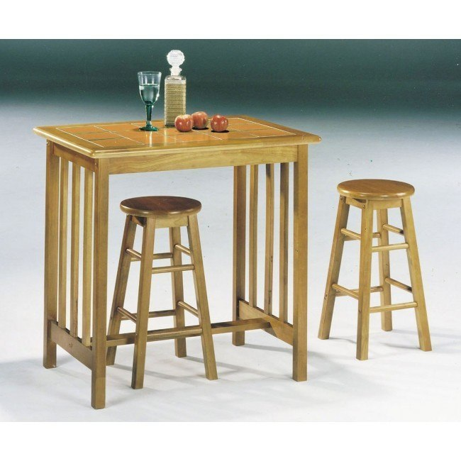 Metro 3-Piece Counter Height Breakfast Set (Oak)