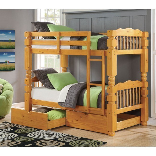 Benji Twin Bunk Bed w/ Storage (Honey Oak)