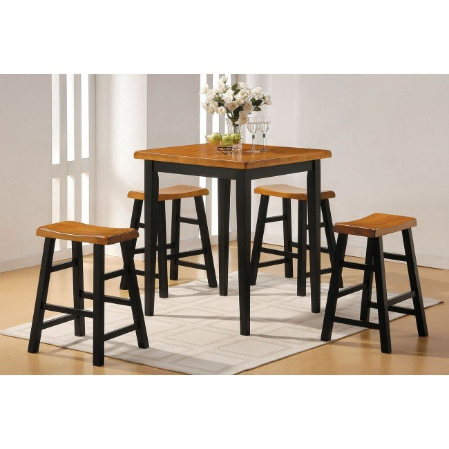 Gaucho 5-Piece Counter Height Dining Set (Oak/Black)