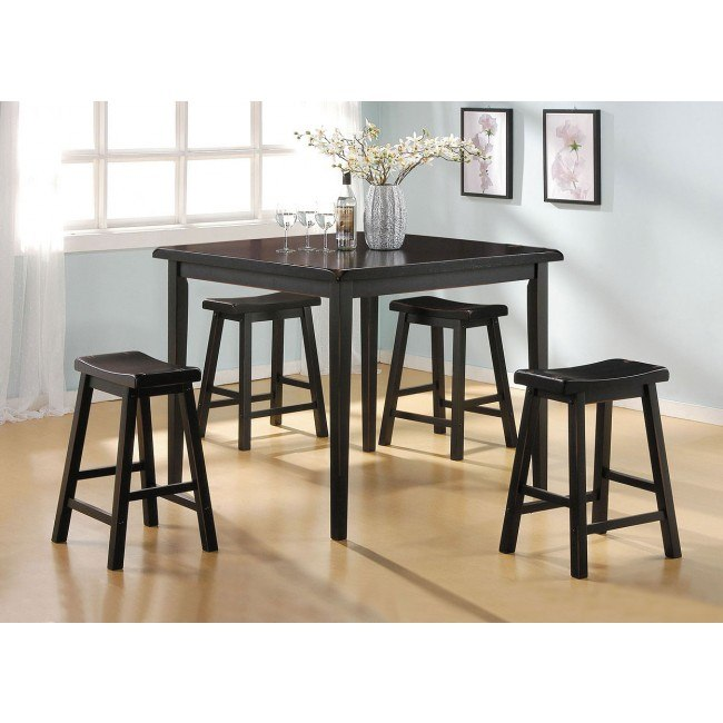 Gaucho 5-Piece Counter Height Dining Set (Black)