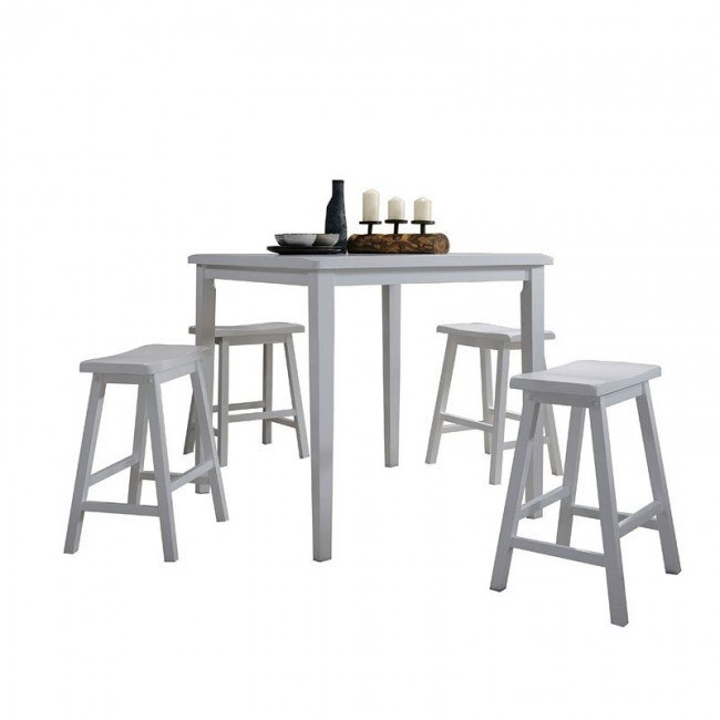 Gaucho 5-Piece Counter Height Dining Set (White)