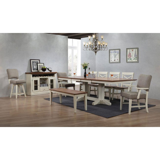 Antique White Trestle Dining Room Set