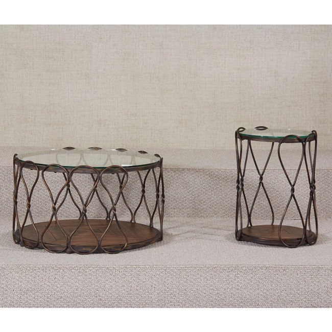 Hidden Treasures Round Occasional Table Set (Antique Bronze)