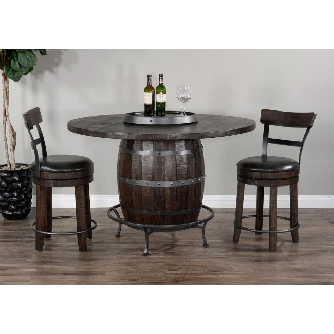Round Wine Barrel Base Pub Table Set