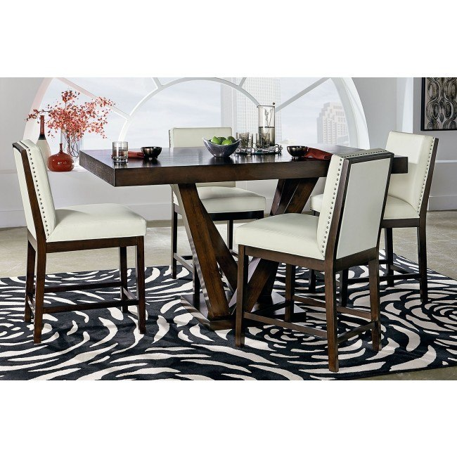 Couture Elegance Pedestal Counter Dining Set w/ White Chairs