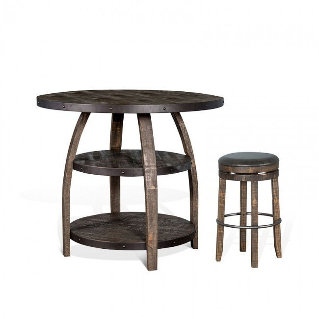 Wondrous Metroflex Vintage Round Counter Dining Set W Backless Stools Caraccident5 Cool Chair Designs And Ideas Caraccident5Info