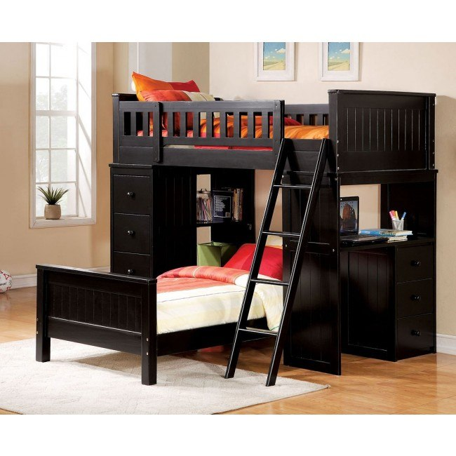 Willoughby Loft Bed w/ Twin Bed (Black)
