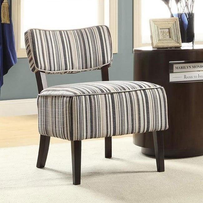 Orson Blue Tonal Stripe Accent Chair