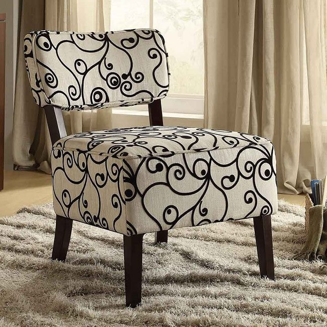 Orson Black and White Swirl Accent Chair