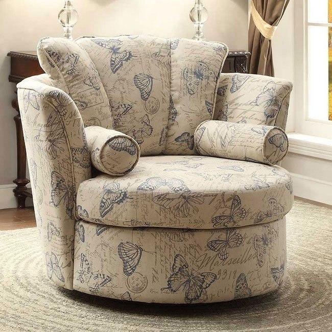 Aurelia Swivel Accent Chair w/ Blue Butterflies