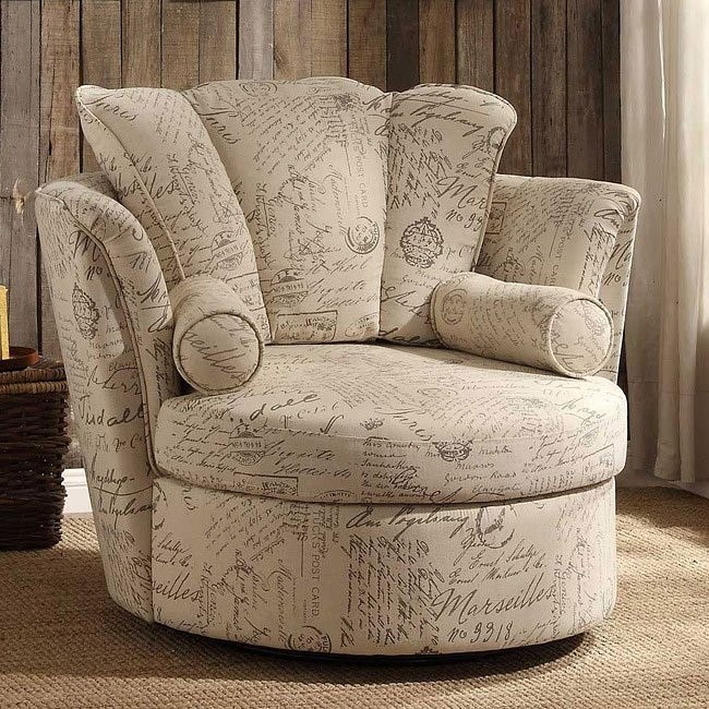 Aurelia Oatmeal Linen Swivel Accent Chair