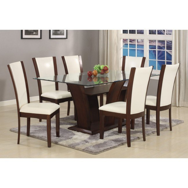 Camelia Rectangular Dining Set w/ White Chairs