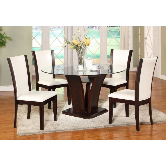 Camelia Round Dining Set w/ White Chairs