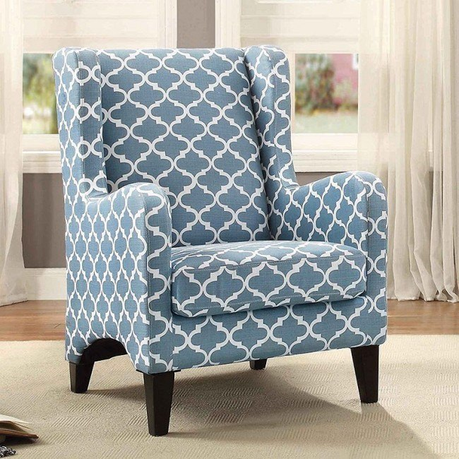 Enjoyable Adlai Accent Chair Blue White Gamerscity Chair Design For Home Gamerscityorg