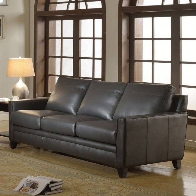 Fletcher Leather Sofa Charcoal By