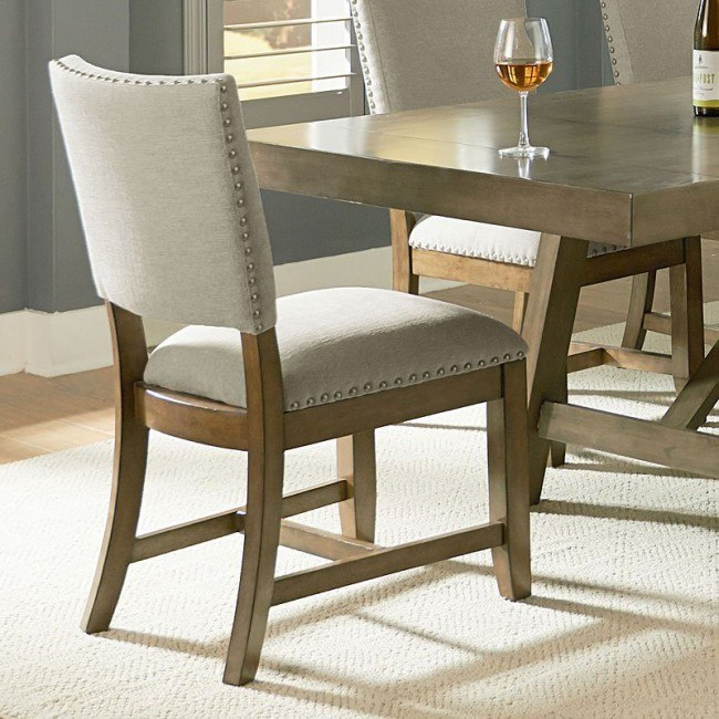 Omaha Upholstered Side Chair Grey Set Of 2 By Standard