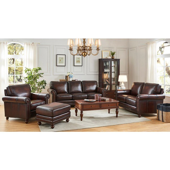 Hampton Leather Living Room Set By