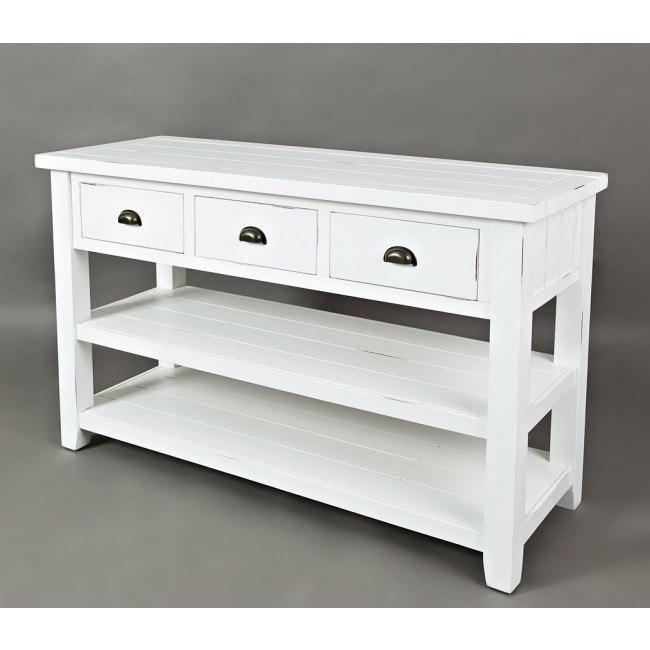 Artisans Craft Sofa / Media Table (Weathered White)