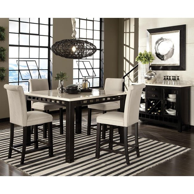 Gateway White Counter Dining Set w/ Upholstered Chairs
