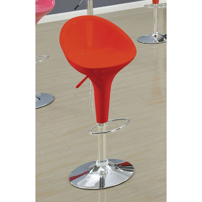 Sybill Mid Back Adjustable Swivel Stool (Red) (Set of 2)