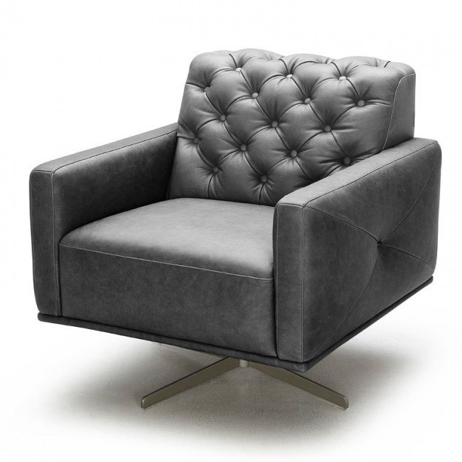 Othello Leather Swivel Chair (Black)