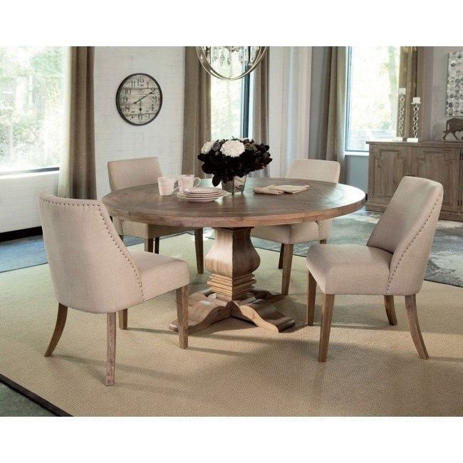 Florence Round Dining Set w/ Beige Chairs