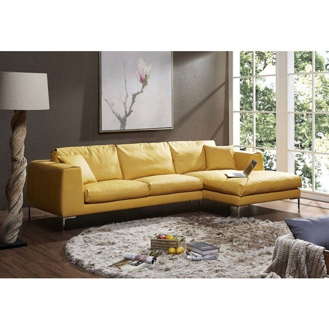 Soleil Premium Leather Right Chaise Sectional