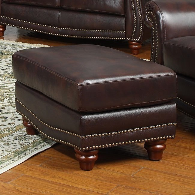 James Leather Ottoman