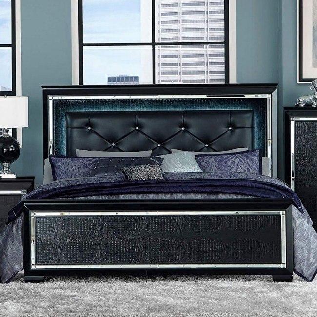 Allura Panel Bed w/ Lighting (Black)
