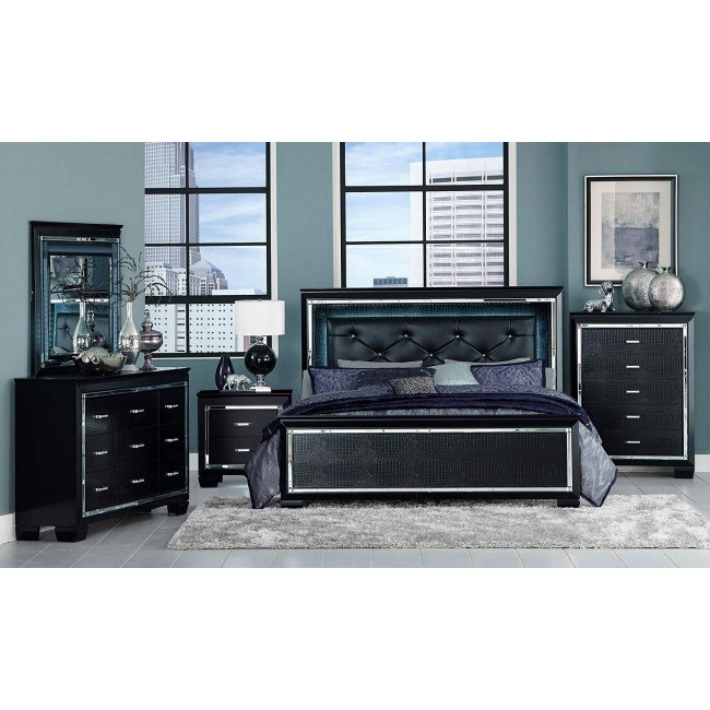 Allura Panel Bedroom Set w/ Lighting (Black)