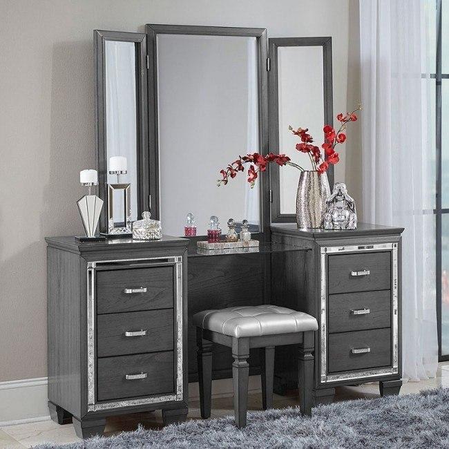 Allura Vanity Dresser W Mirror Gray
